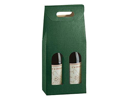 Caja de regalo para 2 botellas de vino verde | Envoltorio de regalo | Bolsas de botella y cajas