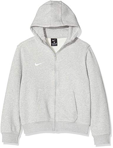 Nike Kinder Sweatshirt Team Club Full Zip Kapuzenjacke,Grau (Grey Heather/Grey Heather/Football White), S