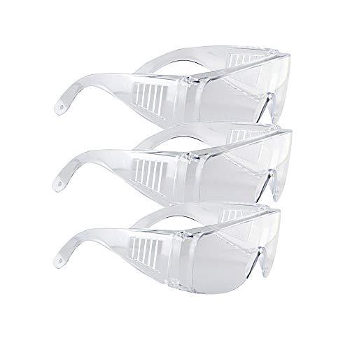 Gafas de seguridad, Gafas Protectoras Transparentes de Trabajo, antivaho, Previene Gafas empapadas, a prueba de viento y rayones,para Laboratorio, Agricultura, Industria, trabajo (3 gafa/bolsa)