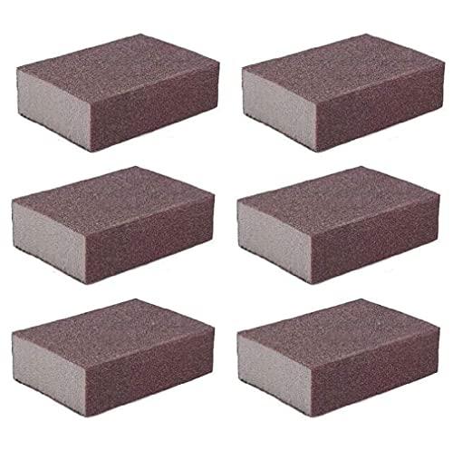 Liyafy 6pcs 120# Grit Sponge Emery Cloth Sandpaper Blocks Buffing Diamond Polishing Pads Hand Sanding Tool
