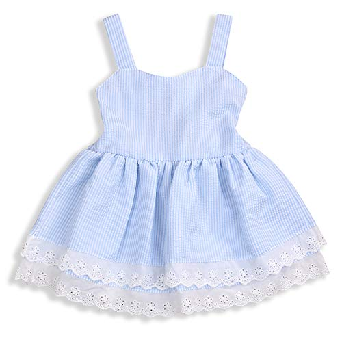 Toddler Girl Dress Cool Summer Young Girl Blue Striped Lace Suspender Party Pageant Dress