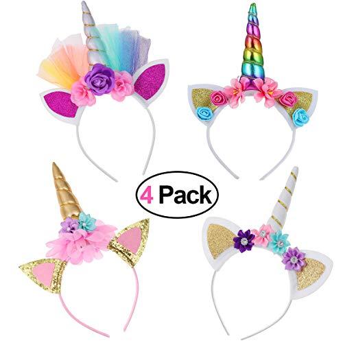 Funmo-4 Unids Diadema Unicornio ,niña Diadema de Cuerno de Unicornio Oro Brillante Orejas de Gato Flores Unicornio Diadema Accesorio Headwear para la Decoración del Partido Cosplay