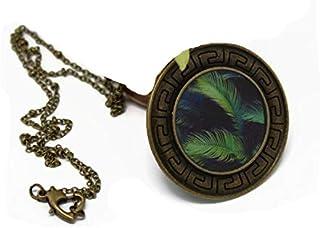 Collana etnica Retro Verde Piuma Ottone nero Bronzo e chiusura in resina Cuore 4cm Regalo personalizzato Noel Fidanzata Fe...