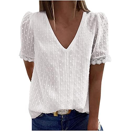 Damen Elegant Spitze Bluse mit V-Ausschnitt Chiffon Blusentop Retro-elegantes Shirt Casual Einfarbig Chiffon Tops Teenager Kurzarm Blusen