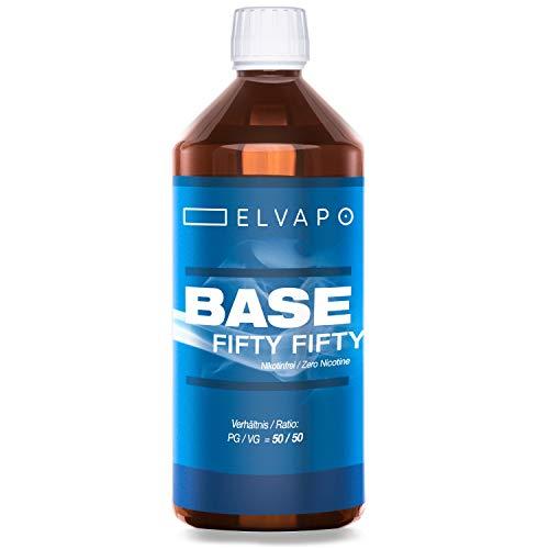 Elvapo BASE - Fifty Fifty | 1000ml / 1L | 50/50 (PG/VG) | Basisliquid für das Mischen von E-Liquids mit Aromen (für E-Zigaretten und E-Shishas) | 0mg (ohne Nikotin) | Liquid-Basen Made in Germany!