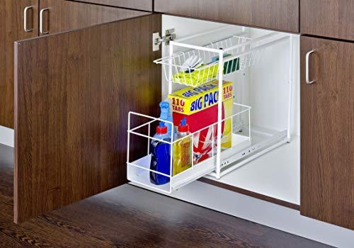 Wenko Cajones con Rieles 2 Repisas para cocina, Metal Recubrimiento de Polvo, Blanco, 45x45x23 cm