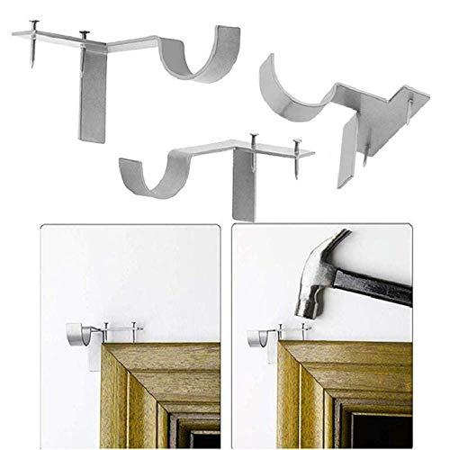 Zenyoumei 3-teiliger doppelter Gardinenstangenhalter, Gardinenstangenhalterung für leichte bis schwere Vorhänge, Wandteppiche - rostfreie Wandhalterung. (Single Hook Silver)