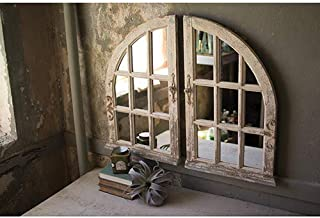 SET OF TWO ARCHED WINDOW MIRRORS