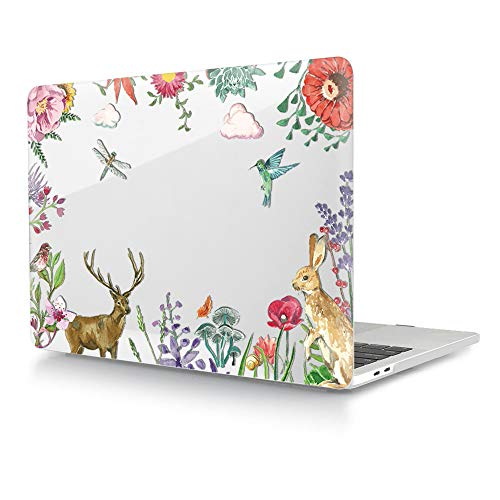 HRH Watercolor Animal Clear Glossy Design Laptop Body Shell Protective Hard Case for MacBook Newest Air 13\' Inch with Retina Display fit Fingerprint Touch ID (Model A1932,2018 Release)
