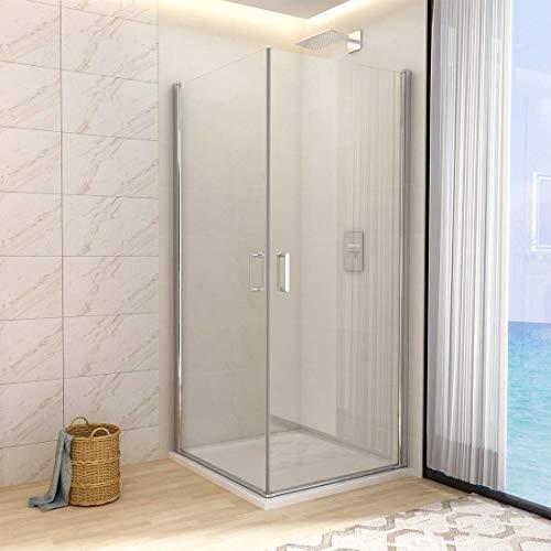 WELMAX Duschkabine Eckeinstieg 80x80 cm Duschabtrennung mit Pendeltür Doppelt Duschtür Schwingtür Duschwand aus 6mm Sicherheitsglas mit Nano-Beschichtung Höhe 195cm