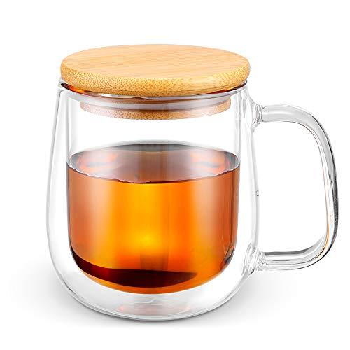 Glass Coffee & Tea Cup Mug with Wooden Lid, Double Wall Borosilicate Glass Latte Espresso Mug with Insulated Handle, Dishwasher Safe, 250ml/8.5oz