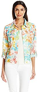 Ruby Rd. womens Petite Button-front Garden Blooms Printed Crinkle Burnout Shirt Jacket