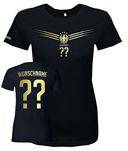 Jayess WM 2018 - Deutschland FLÜGEL Gold - Damen - Wunschname u. Nummer - Vorne und Hinten Wunschnummer und Wunschname Gr. L