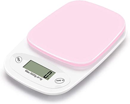 Digital Kitchen Multifunction Food Scale, 22Lbs/5Kg Precision Digital Scales, Kitchen Scales Digital Weight Grams and Ounces 0.1G, with Large LCD Display,Pink