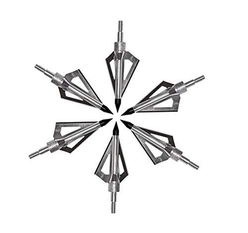 Eva Shop® 6X Jagdspitzen Pfeilspitzen für Compound Recurve Armbrust und Bogen Alu mit 3 Rasierklingen aus 430er Edelstahl - Versand aus BRD Silber