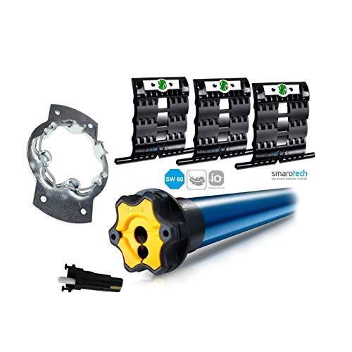 Ersatz-Set Rohrmotor: Somfy® Smart Home Funk Rolladenmotor S&SO RS100 io inkl. Einbruchschutz durch 3 Hochschiebesicherungen, Motorlager, Anschlusskabel und SW 60 Adapter/Mitnehmer. (RS100 io 10/17)