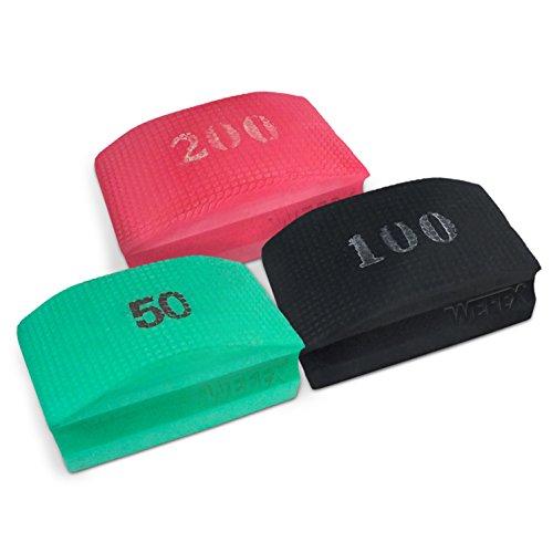 WEFEX Diamant-Handschleifpad Set 3-tlg. Körnung 50+100+200 für Granit, Natursteine, Kunststeine, Marmor, Glas, Keramik