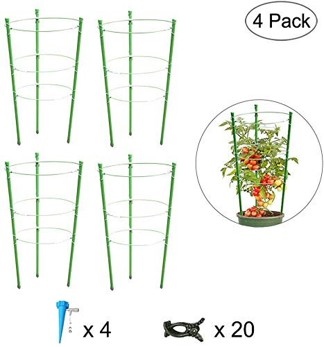 Fundaful 4 Pack Garden Plant Support Tomato Cage, Upgrade 18' Trellis for Climbing Plants, Plant Trellis Kits with 4 Self Watering Spikes and 20 Plant Clips