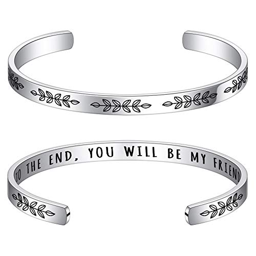 M MOOHAM Women Bracelet - to The End You Will Be My Fried Bracelet Birthday Christmas Friendship Gift for Close Friend, Engraved Message Stainless Steel Cuff Bangle Bracelet