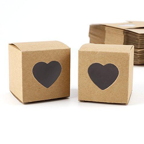 Set de 50 Cajas para dulces bombones Caja kraft de boda regalo Rútico 5x5x5cm Cajita de cuadro con Corazón Transparente