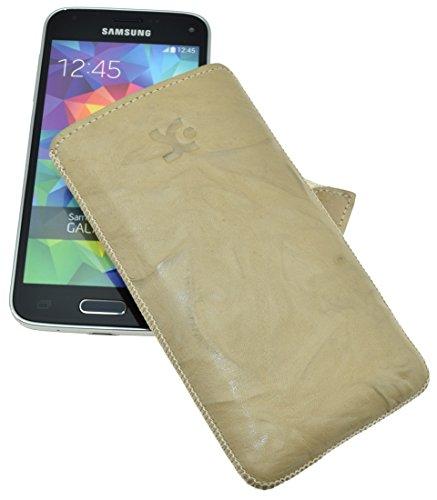 Original Suncase Tasche für / MEDION LIFE E4504 / Leder Etui Handytasche Ledertasche Schutzhülle Hülle Hülle - Lasche mit Rückzugfunktion* in wash-beige