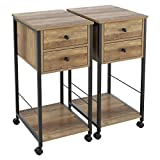 HOMECHO End Table Set of 2, Mobile Side Table for Living Room, Nightstand with Foldable Drawers, Bedside Sofa Telephone Table, Wood and Metal Frame, Light Brown