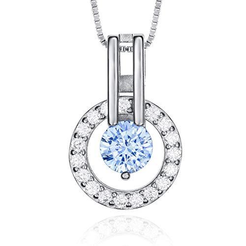 Collar Plata Mujer con Cadena de 42 cm - Colgante de Mujer en Plata de Ley 925 con Zirconitas perfecto como Regalo Original (Azul)