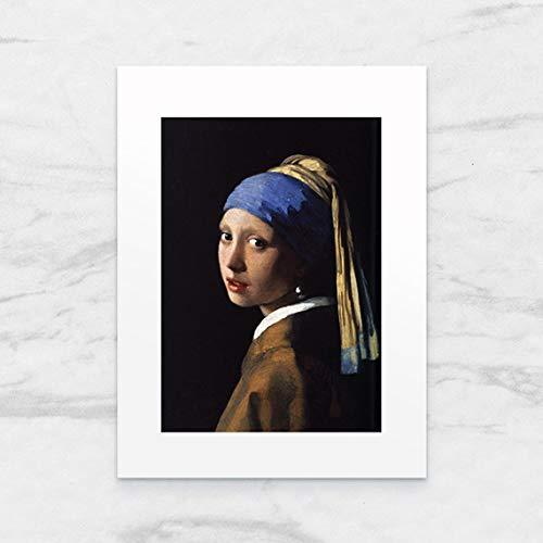 Galeria LueLue Foto Kunstdruck mit Passepartout, Mädchen mit Perlenohrring von Johannes Vermeer, 18 x 24 cm, handgefertigt, Kunst
