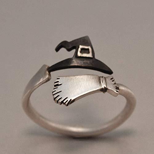 DUANYU Ring Aus 925Er Sterlingsilber,Hexenhut Besen Offener Ring Mode Frau Mann Party Hochzeitsgeschenk