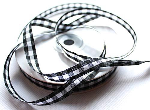 CaPiSo® cuadros de banda 50m x 10mm gewebtes lazo banda decorativa Vichy cuadros rústico regalo banda cuadros sin Alambre