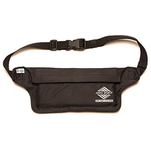 Aqua Quest AquaRoo Money Belt - The World's Original 100% Waterproof Waist Pack, Since 1994 - Comfortable, Adjustable, Lightweight - Travel Pouch for Phone, Passport, Money - Black, Packaging May Vary