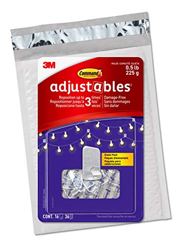 Command Adjustables Repositionable 0.5 lb Hooks, Clear, 16 Hooks, 36 Strips (AD840CLR-16NA)
