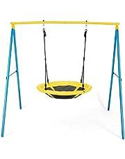 COSTWAY Columpio de Nido con Soporte Columpio Colgante 100-130cm Ajustable Columpio Redondo para Jardín Parque Infantil 196x180x185 centímetros