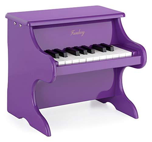 Funkey MP-18 Mini Spielzeug Piano - Metallophon in Klavier Optik - 18 Tasten ideal für kleine Kinderhände - Kinderklavier für Kinder ab 3 Jahren - Lila