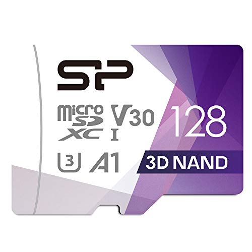 Silicon Power 128GB R/W up to 100/ 80MB/s Superior Pro Micro SDXC UHS-I (U3), V30 4K A1, High Speed MicroSD Card with Adapter