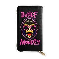 Dance Monkey ダンス・モンキー 長財布 財布 大容量 革 撥水加工 ファスナー 人気 財布 レザー 学生 メンズ レディース カード収納 おしゃれ 小銭入れ 札入れ 多機能 便利 3dプリント Hip Hop風 ギフト 個性的 丈夫