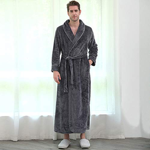 YSKDM Men Winter Plus Size Long Coral Fleece Bathrobe Kimono Warm Flannel Bath Robe Men Cozy Robes Night Sleepwear Women Dressing Gown,Men Gray 911,M