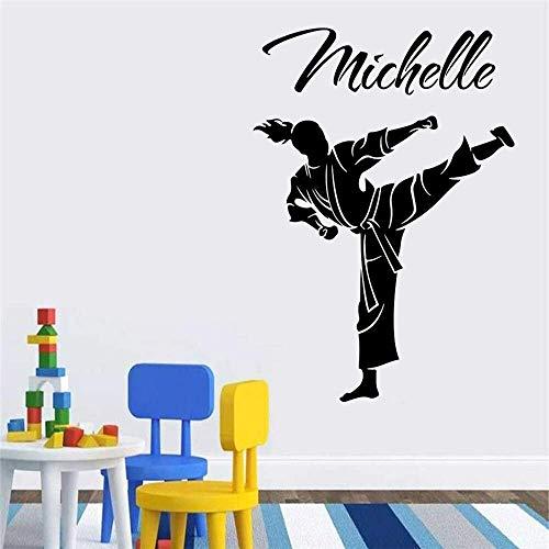 Karate Arti Marziali Taekwondo Ragazze Camera Da Letto Adesivi Murali Personalità Boxe Judo Pratica Adesivi Murali Sala Giochi Camera Da Letto Vinile 76X56 Cm
