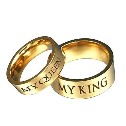 Bishilin Paarepreise Edelstahl Ringe Damen Herren mit Gravur My QUEEEN My King Hochglanzpoliert Rund 8/6 MM Trauring Partner Gold Ringe Paar Damen Gr. 54 (17.2) & Herren Gr. 57 (18.1)