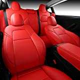 INCH EMPIRE Car Seat Cover for Tesla Model 3 PU Leather Seat Protector 14pcs Fully Wrapped Custom Fit for Model 3 2017 2018 2019 2020 2021 All Season(Red)