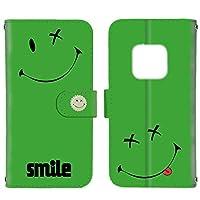 FFANY HUAWEI Mate 20 Pro (LAY-L09) 用 スマホケース 手帳型 カードタイプ ペケスマイル・グリーン ばってんすまいる ニコちゃん smile ファーウェイ メイト トゥエンティープロ ワイモバイル SIMフリー スマホカバー 携帯ケース スタンド batusmile aaj_190944c