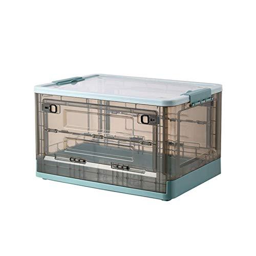 PUTAOYOU Caja de Almacenamiento Plegable con Tapa y Ruedas, contenedor Claro de Doble Puerta apilable, Organizador de Almacenamiento de Ropa de Gran Capacidad (Color : Blue)