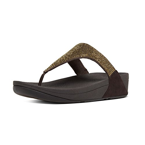 Fitflop Slinky Rokkit Toe-Post, Damen Sandalen mit Absatz, Braun (Chocolate), 39.5 EU (6 UK)