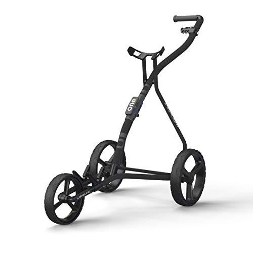 WISHBONE ONE Golfwagen Golftrolley klappbar Trolley 3 Räder Trolly für Golf Golfbag - Super leicht und einfach klappbar - Tri Card 3 Rad System - flexibel für alle Bags & Golfsets (charcoal-black)