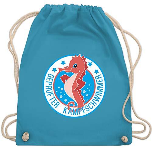 Sport Kind - Seepferdchen Schwimmer - Unisize - Hellblau - turnbeutel schwimmen - WM110 - Turnbeutel und Stoffbeutel aus Baumwolle