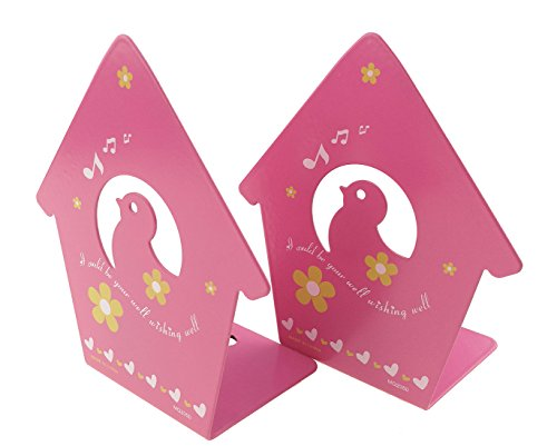 A Pair Of Cute Baby Birds Singing Theme With Flowers Heart-shaped Pattern Solid Metal Book Stand Bookends Art For Kids Childrens Bedroom Library School Desk Study Gift (Pink)