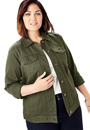 Jessica London Women's Plus Size Classic Cotton Denim Jacket - 14, Dark Olive Green