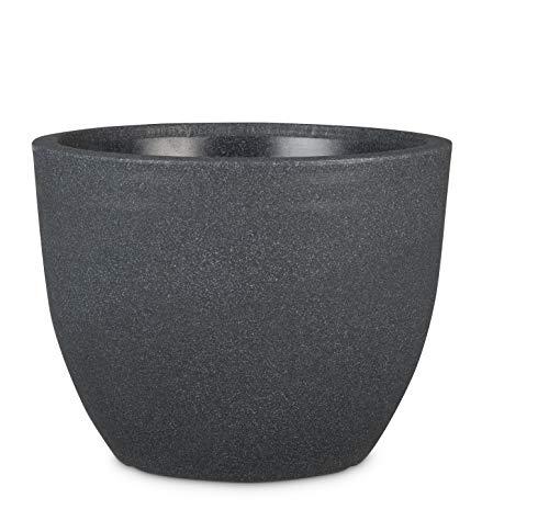 Scheurich Firenze, Kunststoff, Schwarz-Granit, 30 cm Durchmesser, 23 cm hoch, 9,5 l Vol. Pflanzgefäß, Ø, Höhe