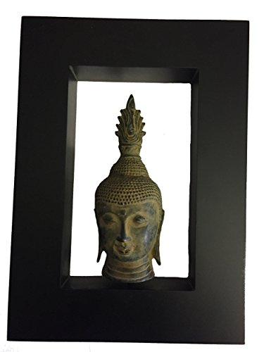 Sukhothai, efecto envejecido bronce cabeza de Buda en un contemporáneo marco negro mate–comercio justo
