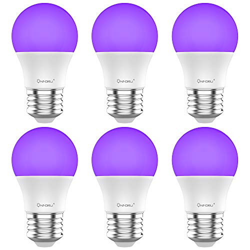 Onforu UV LED Black Lights Bulb, 7W A19 E26 Bulb, UVA Level 385-400nm, Glow in The Dark for Blacklights Party, Body Paint, Fluorescent Poster, Neon Glow ( 6 Pack )